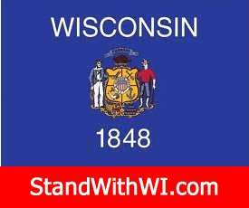 Wisconsin State Flag with motto